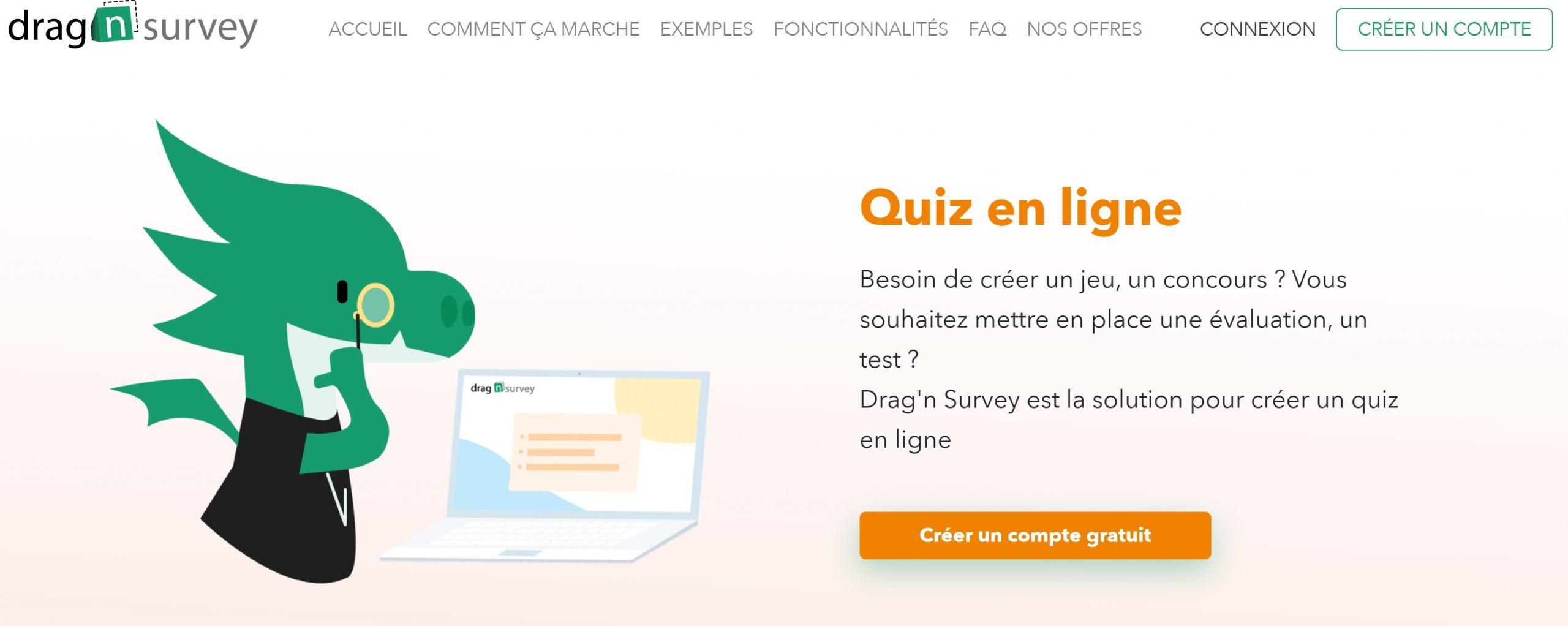 quiz plateforme drag n survey