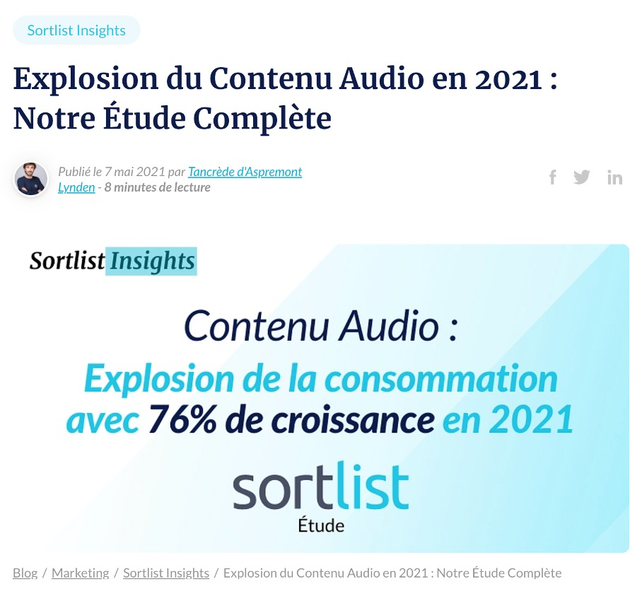 Contenu audio consommation France